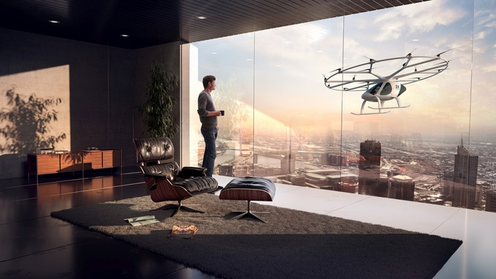 Flying taxi from a luxury penthouse apartment