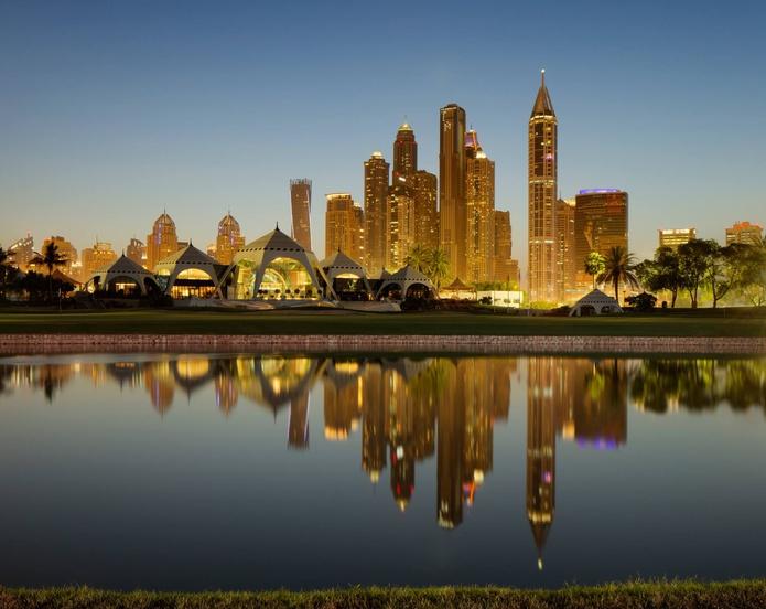 Emirates Golf Club with Dubai Marina skyline