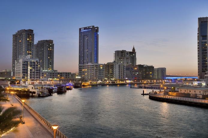 Dubai Marina with Wyndham Dubai Marina building in the background