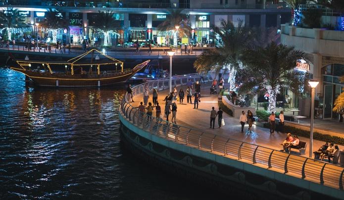 Dubai Marina Walk at night