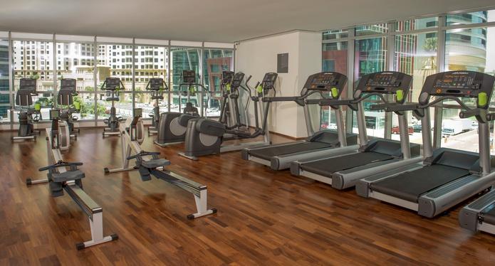 InterContinental Dubai Marina gym with Marina views