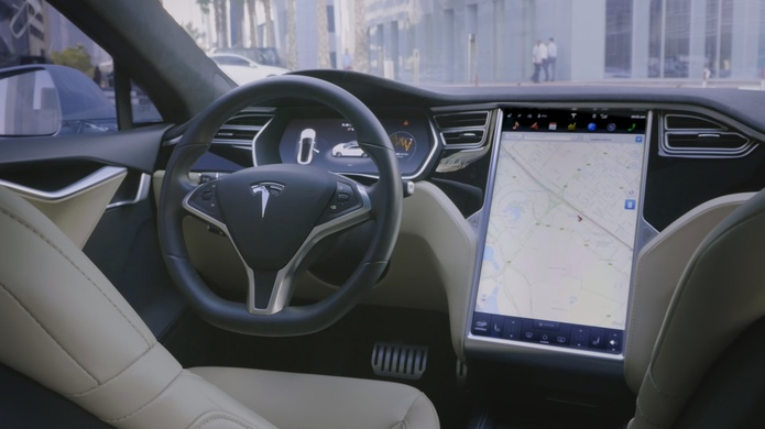 Driverless Tesla Model S interior while on the road