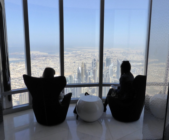 Burj Khalifa On The Top Observation Deck Chairs with Panoramic View