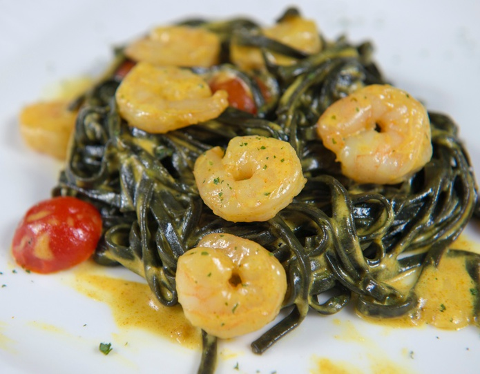 Black squid Tagliolini with shrimps
