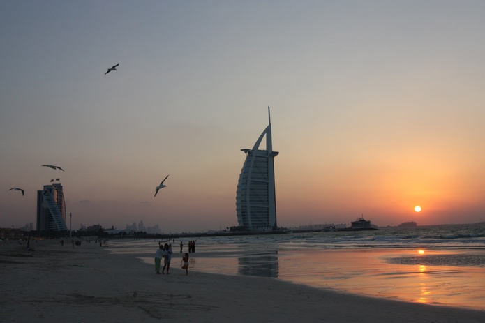 Umm Suqeim Beach with Burj Al Arab at sunset