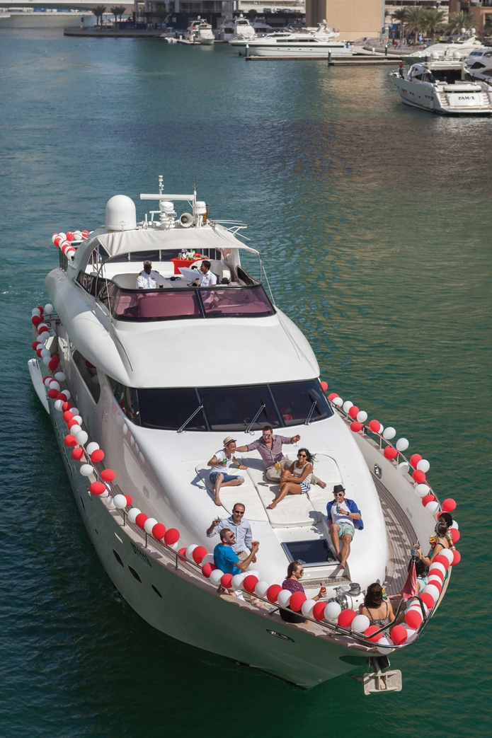 84 FT Yacht with decoration and a group of people