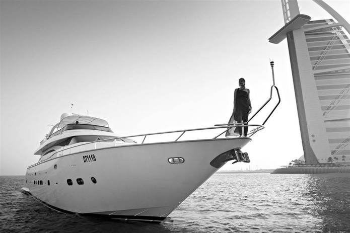 84 FT Yacht black and white photo with model girl
