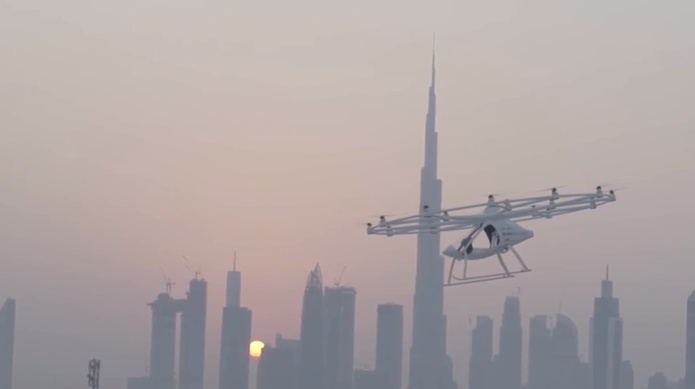 Volocopter with Burj Khalifa and Dubai skyline in the background