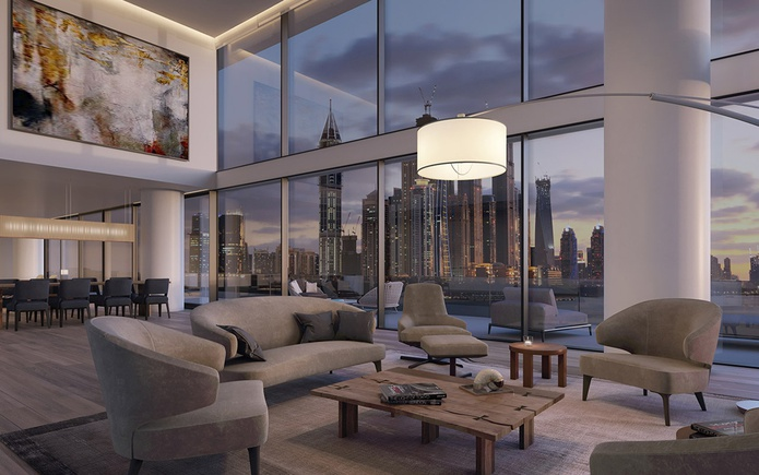 The living room of the most expensive penthouse in Dubai