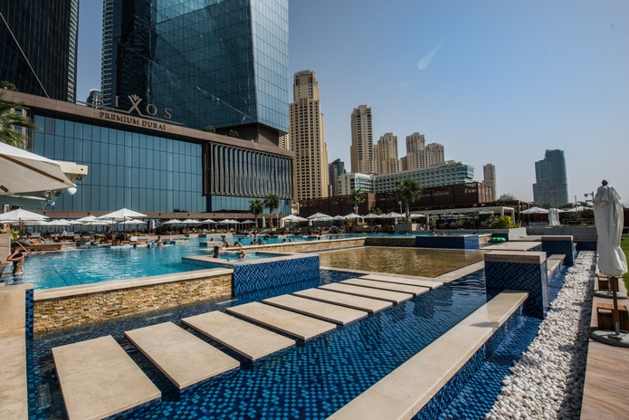 Rixos Premium Dubai building and the outdoor pools