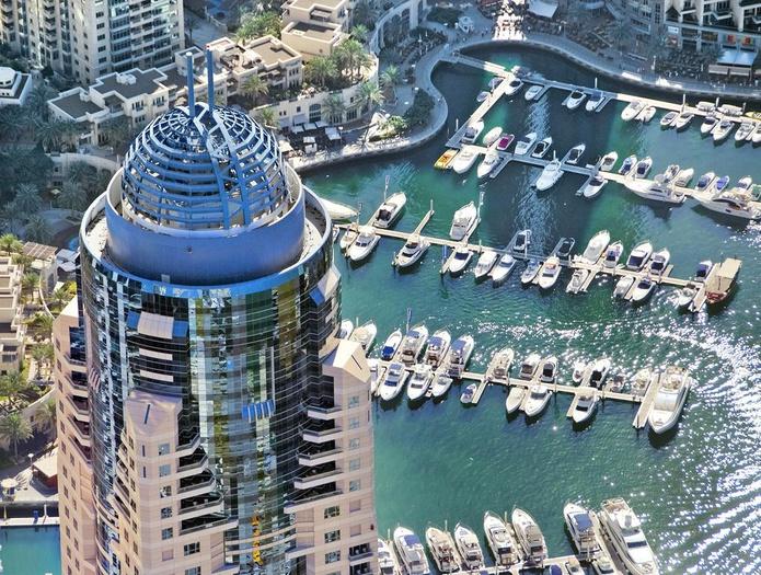 Dubai Marriott Harbour Hotel and Suites skyscraper top view