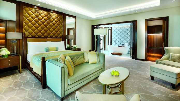 The Ritz-Carlton Dubai room and bathroom