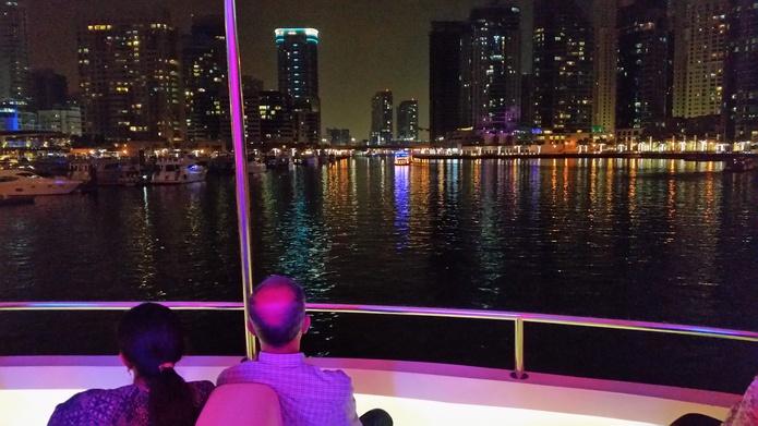 Xclusive Dinner Cruise Dubai Marina panorama from the house boat