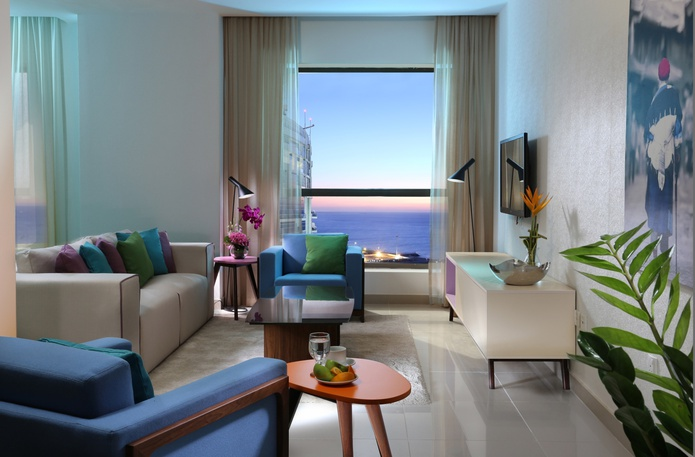 One Bedroom Suite living room with sea view