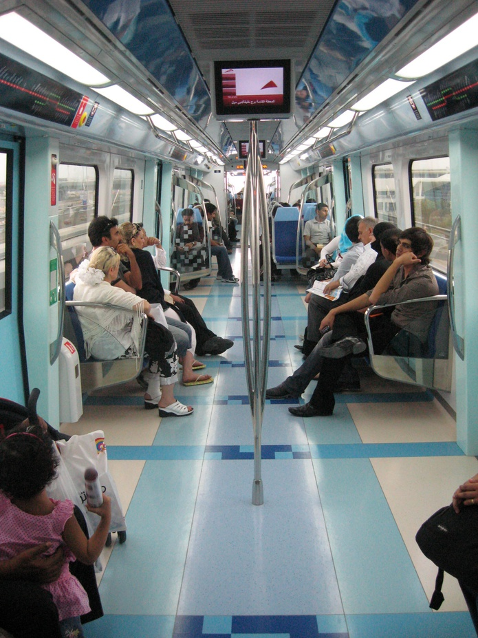 Inside the train with other commuters