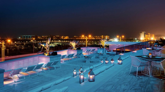 Siddharta Lounge by Buddha Bar rooftop terrace at night