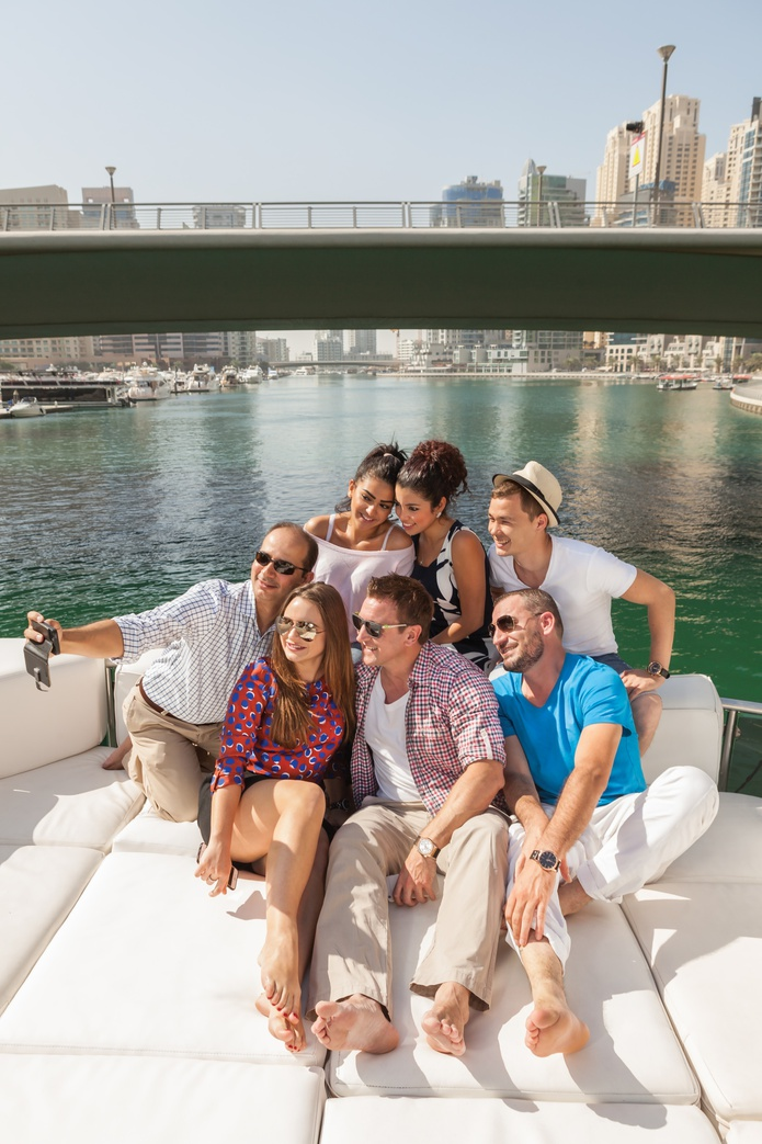 Taking selfie on board of the yacht